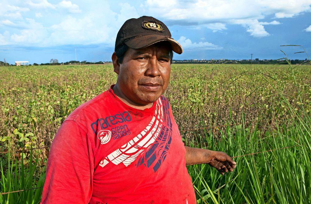 Anderson Machado. Ein Vertreter des Stammes der Guaraní-Kaiowá vor dem Land seiner Vorfahren. Wo einst Urwald war,  wird   heute Soja angebaut. Foto: Werner Rudhart (z)