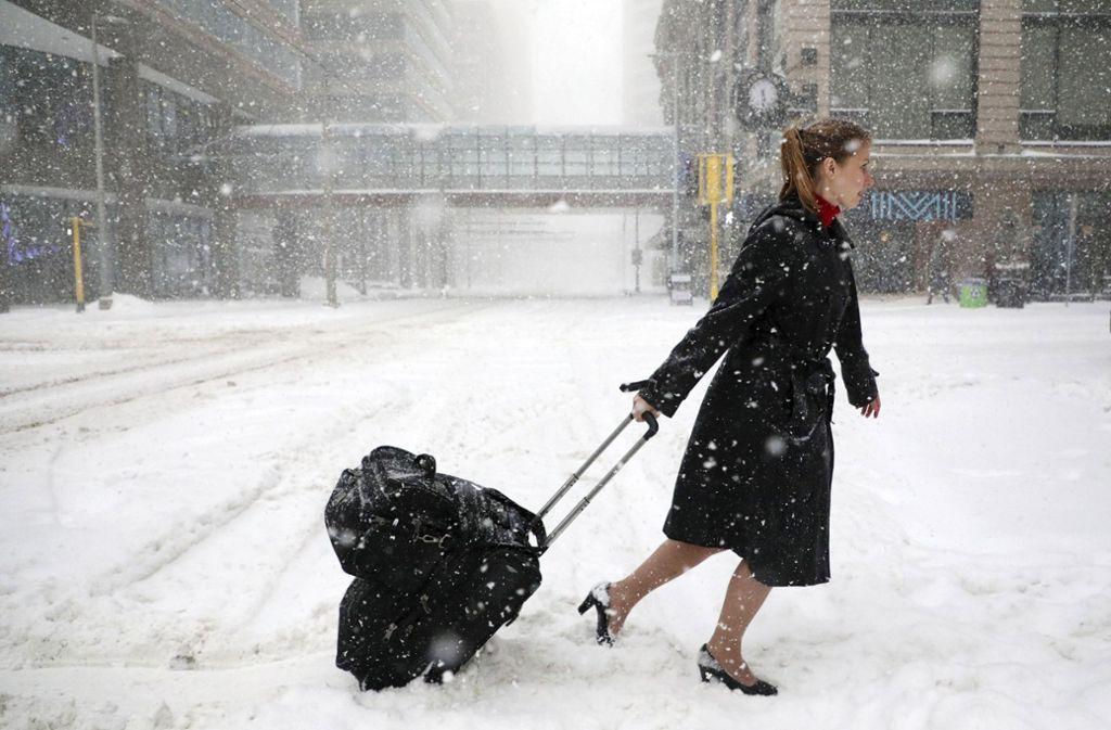 In Minneapolis schneite es am Wochenende heftig. Foto: Star Tribune