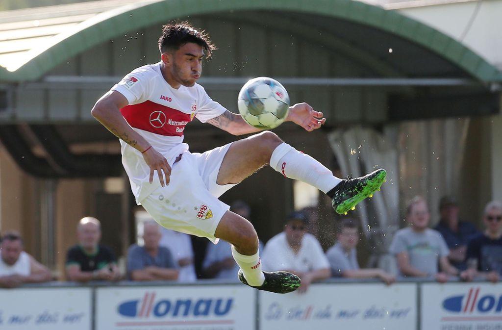 Nicolas Gonzalez  erzielte das 2:0 im Testspiel für den  VfB Stuttgart. Foto: Pressefoto Baumann