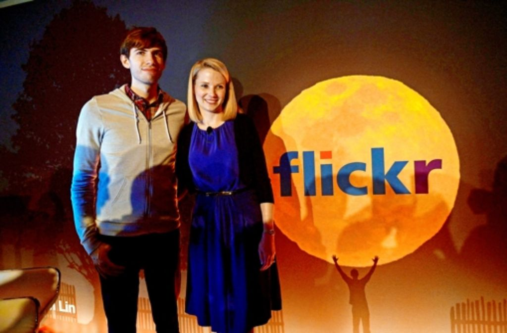 Marissa Mayer mit dem Tumblr-Gründer David Karp in New York. Foto: AFP