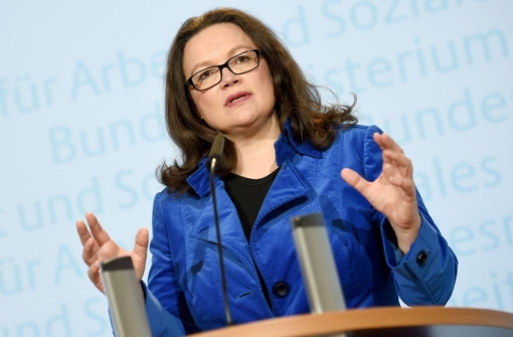 Andrea Nahles fordert Integrationsbereitschaft von Flüchtlingen. Foto: dpa
