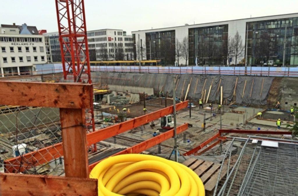 Derzeit wird die Tiefgarage des neuen Gebäudekomplexes gebaut.Foto:Fritzsche Foto:
