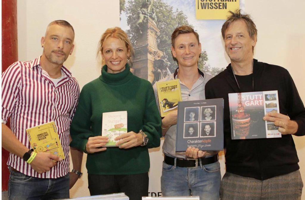 Die Blogger und Autoren (von links) Manuel Kloker, Emma von Bergenspitz, Patrick Mikolaj und Uwe Bogen bei der Genussmesse Speis & Trank. Foto: Klaus Schnaidt