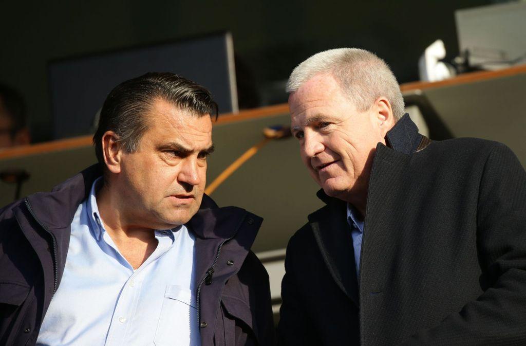 Die mächtigsten Männer bei den Stuttgarter Kickers: Präsident Rainer Lorz (re.), Aufsichtsratschef Chrisitan Dinkelacker. Foto: Baumann