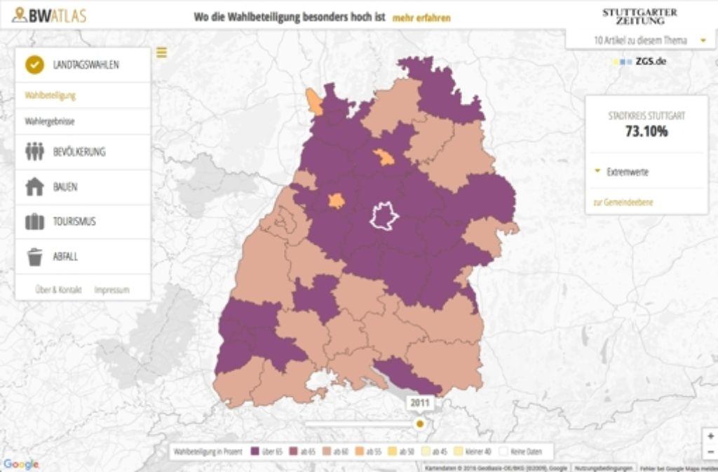 Der BW-Atlas macht Daten aus dem Land interaktiv erkundbar. In der Bilderstrecke stellen wir 16 überraschende Erkenntnisse aus dem BW-Atlas vor. Foto: BW-Atlas / Screenshot