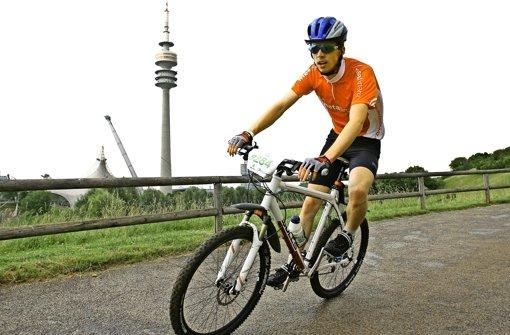 Ulrich Riedels  Hausstrecke   auf     dem Mountainbike         führt     um     das  Olympiagelände in München. Foto: privat