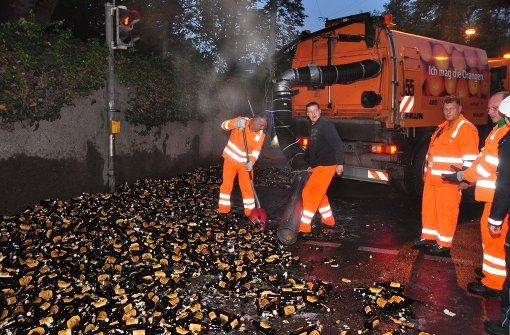 Hunderte Liter Bier überschwemmen Wolframstraße