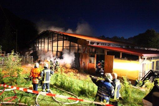 Reithalle geht in Flammen auf
