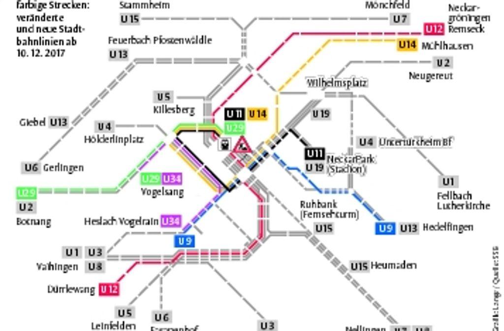 Statt der U9 fährt die U29 zum bis zum Hauptbahnhof. Wer weiter will, muss umsteigen. Foto: StN-Grafik :Lange/Quelle SSB