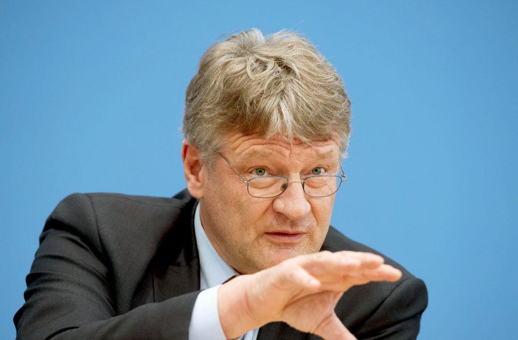 Jetzt ist der Machtkampf offiziell: Jörg Meuthen (links) will nach der Bundestagswahl eine Kampfkandidatur gegen Frauke Petry um den AfD-Bundesvorsitz. Foto: dpa