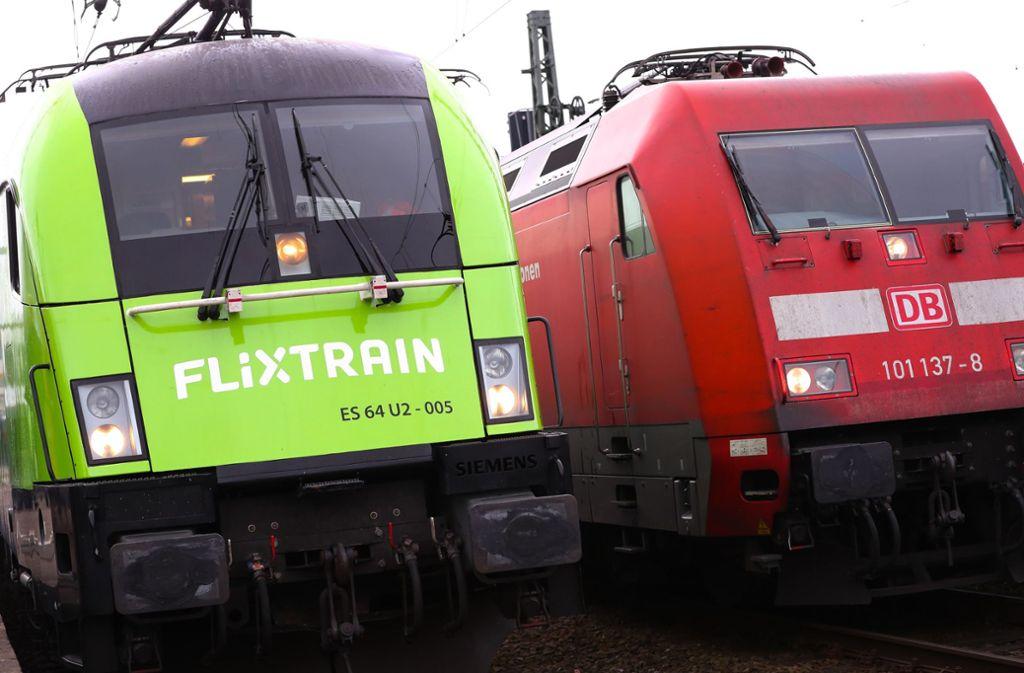 Flixtrain ist im Fernverkehr der einzige Konkurrent der Deutschen Bahn. Foto: dpa/Christian Charisius