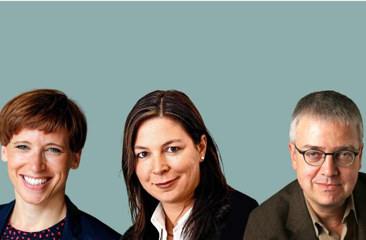 Eine Fachjury hat die Chefredakteurin Digital Swantje Dake, die Reporterin Katja Bauer  und den Autor Andreas Müller geehrt (von links). Foto: Lichtgut/Leif-Hendrik Piechowski