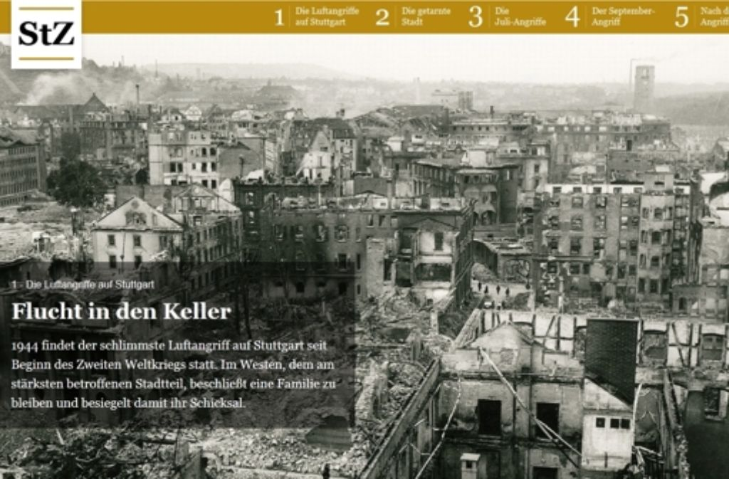 StZ-Volontärin Violetta Hagen hat eine Multimedia-Reportage über die Luftangriffe auf Stuttgart während des Zweiten Weltkriegs erstellt. Foto: Screenshot