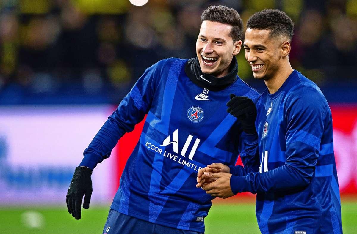 Julian Draxler (li.) und Thilo Kehrer wollen den Titel mit Paris St-Germain gewinnen – gegen den deutschen Club vom FC Bayern. Foto: dpa/Guido Kirchner