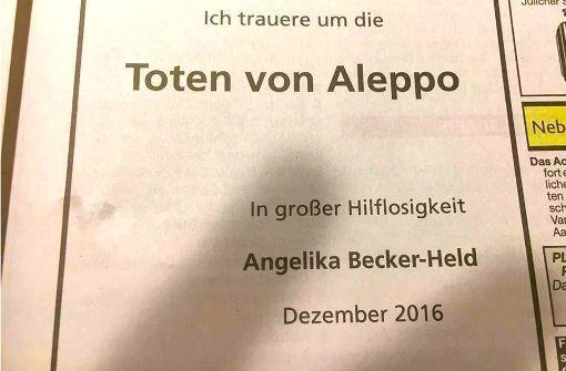 """""""Ich trauere um die Toten von Aleppo"""""""