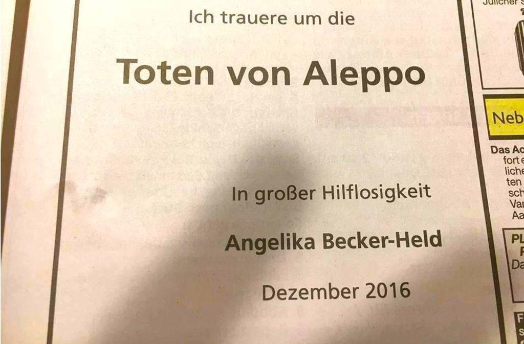 Am 6. Dezember schaltet Angelika Becker-Held diese Traueranzeige in der Aachener Zeitung, die jetzt das Netz bewegt. Foto: Screenshot Facebook