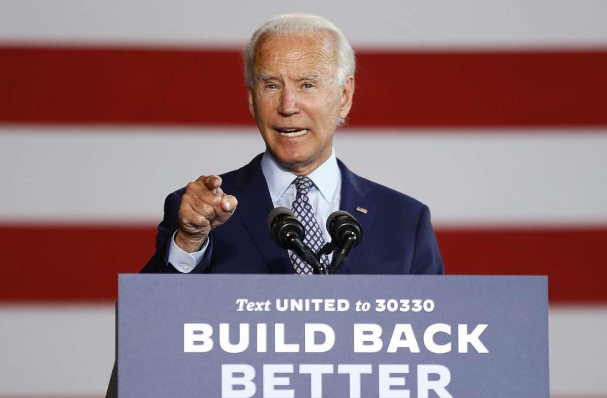 Joe Biden stimmt langsam härtere Töne im Wahlkampf an. Foto: dpa/Matt Slocum