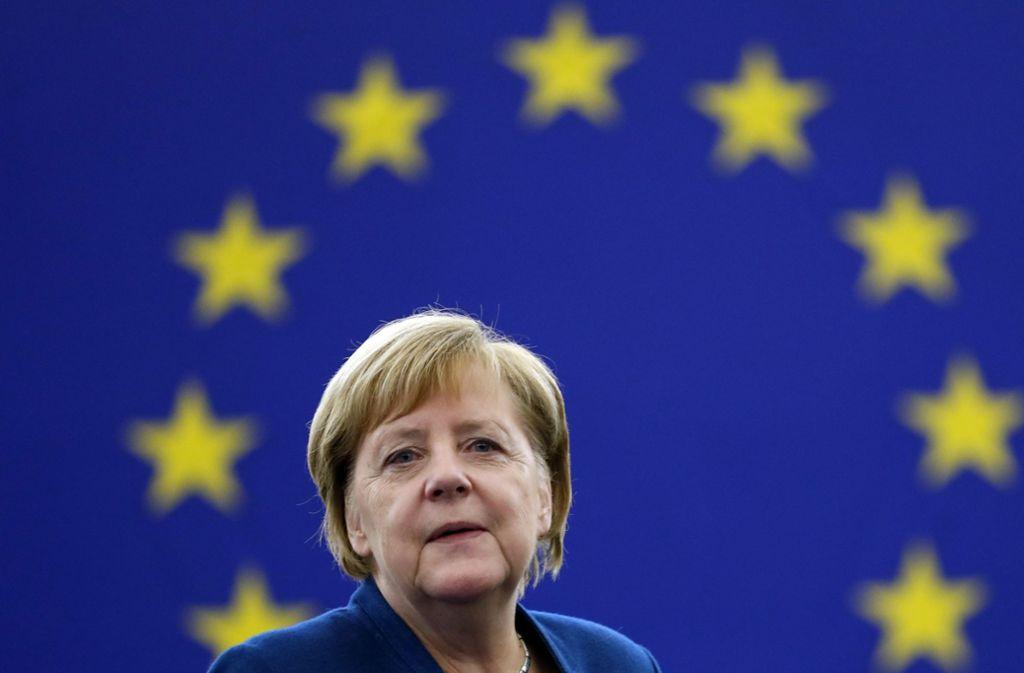 Angela Merkel betonte bei ihrer Rede in Straßburg, dass eine europäische Armee eine gute Ergänzung zur Nato sein könnte. Foto: AP