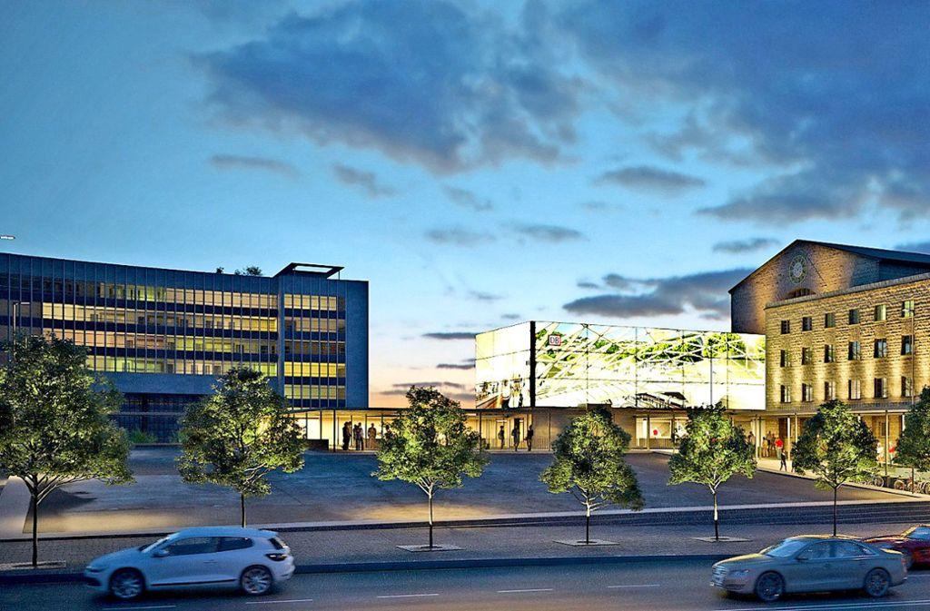 Die Kräne für Stuttgart 21 fehlen im Hintergrund dieser Visualisierung, die zeigt, wie die Interimswartehalle aussehen könnte. Foto: Bahn