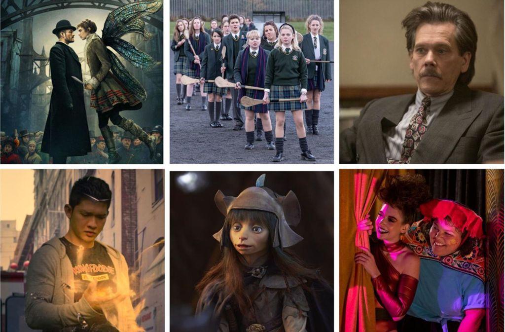 """Neu im August: """"Carnival Row"""", """"Derry Girls"""", """"City On A  Hill"""", Glow"""", """"Der dunkle Kristall"""" und """"Wu Assassins"""" (von links oben im Uhrzeigersinn). Mehr Bilder von den zehn interessantesten Neustarts dieses Monats gibt es in unser Fotostrecke. Foto: Amazon Prime, Channel 4, Showtime, Netflix (3)"""