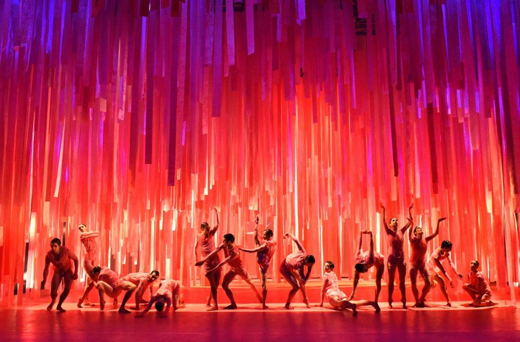 """Gruppenbild in Flamingorosa: Nadav Zelner setzt für """"Bullshit"""" mit Gauthier Dance alles auf eine Farbe – und gewinnt. Foto: Regina Brocke"""