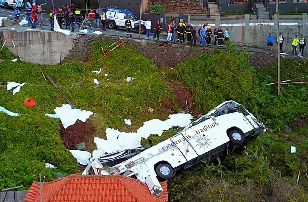 Auf Madeira ist ein Bus mit Touristen verunglückt. Foto: AFP