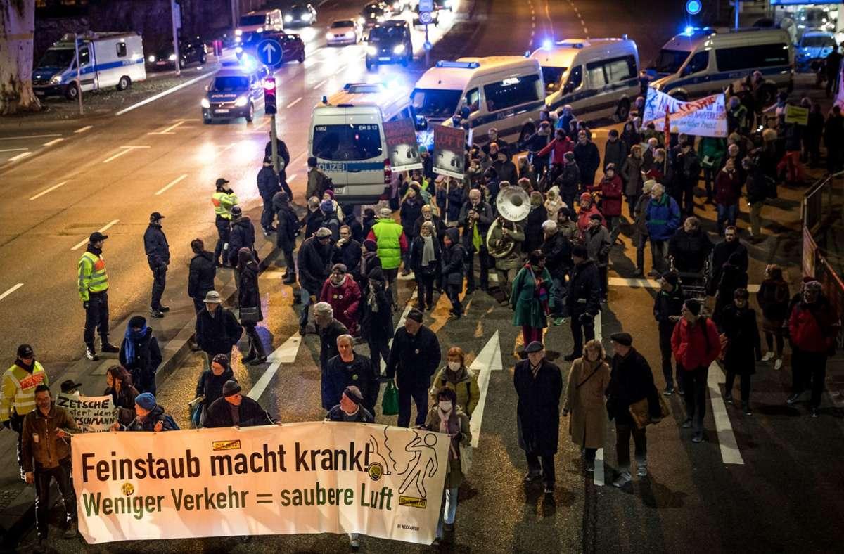 Im Januar 2018 war am Neckartor gegen die hohe Feinstaubbelastung demonstriert worden. Foto: Lichtgut/Julian Rettig