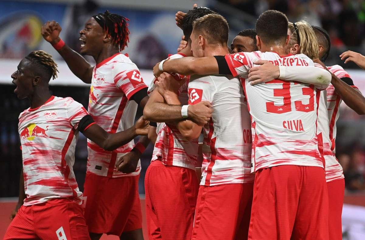 RB Leipzig  bekommt es in der Gruppenphase mit Paris und City zu tun. Foto: dpa/Hendrik Schmidt