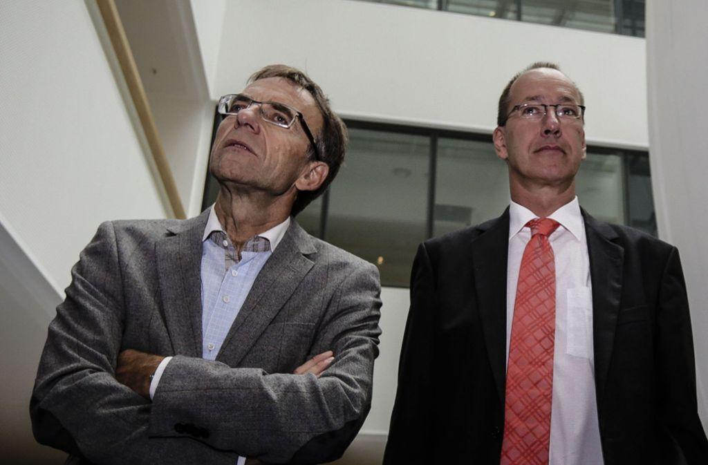 Der ehemalige Krankenhausbürgermeister Werner Wölfle (links) und der frühere Klinikumsgeschäftsführer Ralf-Michael Schmitz Foto: Leif Piechowski