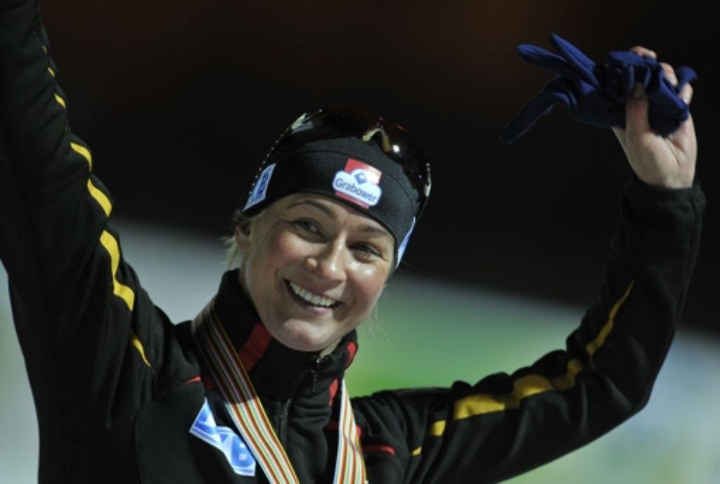 Claudia Pechstein siegt auch nach ihrer Sperre wieder. Foto: AP