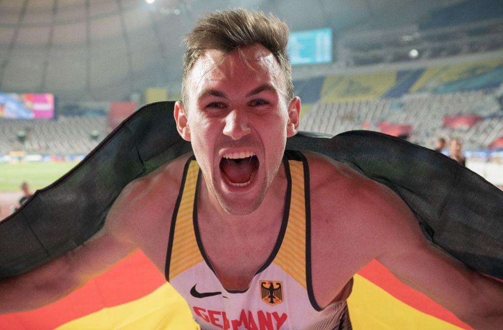 Niklas Kaul katapultierte sich in Doha an die Spitze der Leichtathletik-Welt. Foto: dpa/Michael Kappeler
