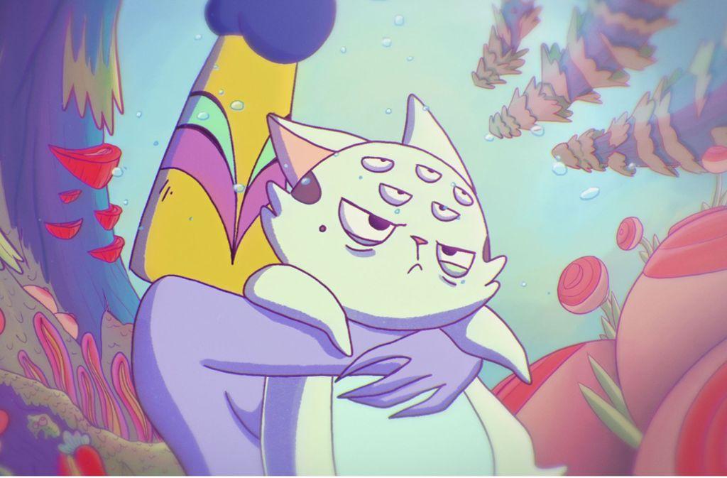 Die Katze Flooz wird von der nackten Killerfrau umarmt. Foto: Putzker