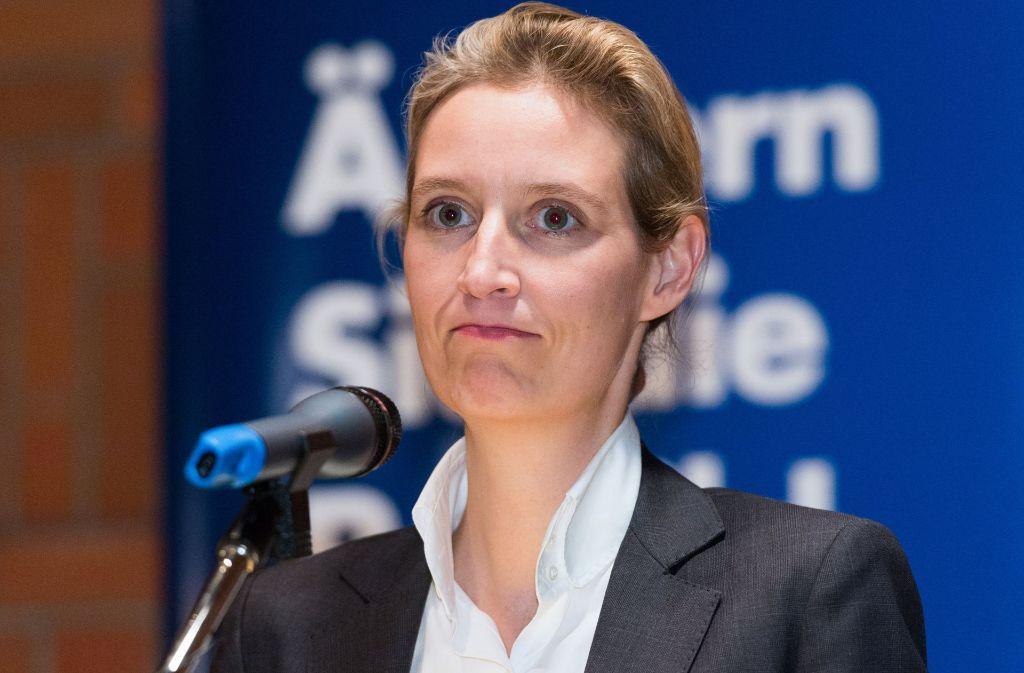 Muss sich an mediale Öffentlichkeit erst noch gewöhnen: Die AfD-Spitzenkandidatin für die Bundestagswahl, Alice Weidel. Foto: dpa