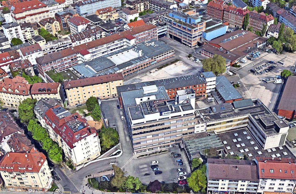 Die Satellitenaufnahme des EnBW-Areals im Stuttgarter Osten ist schon etwas älter, zeigt aber die bestehenden Gebäudestrukturen noch ganz gut. Foto: Google Earth