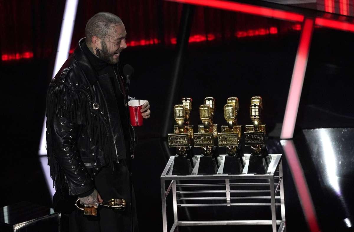 Post Malone gewann bei den Billboard Music Awards gleich neun Mal. Foto: AP/Chris Pizzello