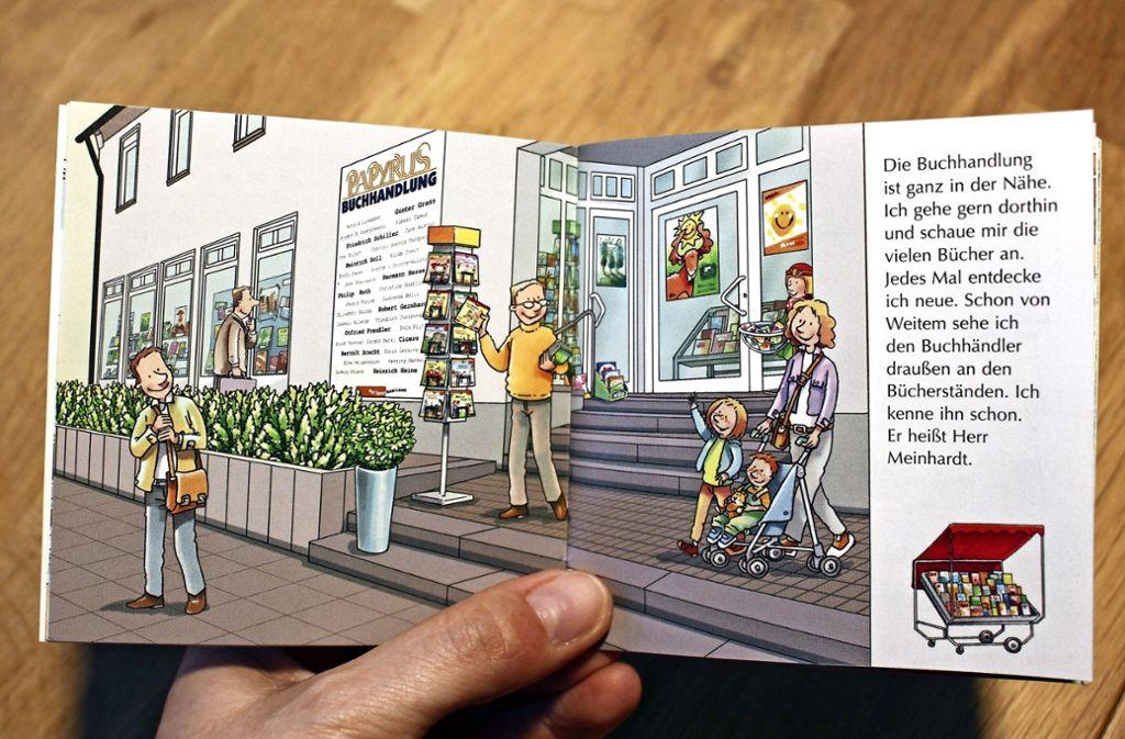 Neuerdings gibt es sogar ein Pixi-Buch, in dem die Buchhandlung an der Kirchheimer Straße vorkommt. Foto: Caroline Holowiecki