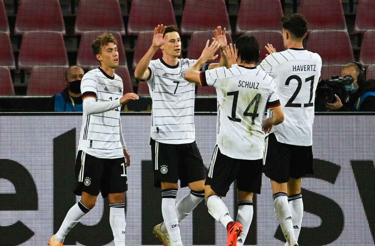Die deutsche Fußball-Nationalmannschaft hat sich nur mit einem Unentschieden auf die Nations-League-Aufgaben in den kommenden Tagen eingespielt. Foto: dpa/Federico Gambarini