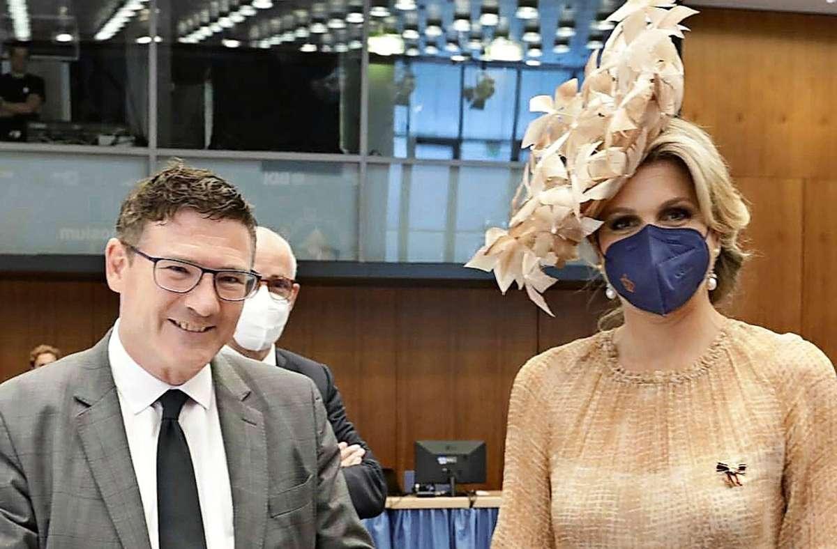Der Stuttgarter CDU-MdB Stefan Kaufmann  mit der niederländischen Königin Máxima in Berlin. Foto: DIHK/Jens Schicke