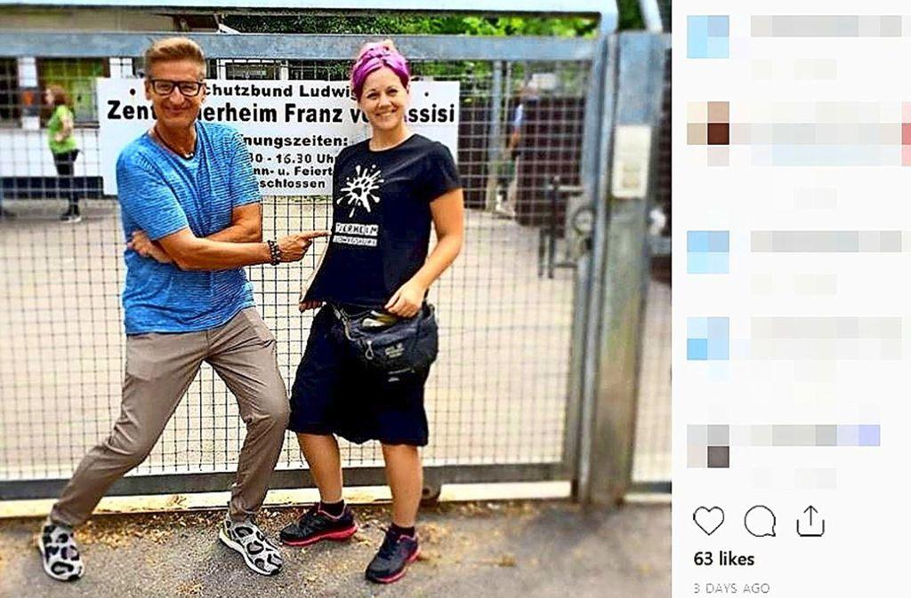 Engler war im Tierheim in Ludwigsburg, wie auf Instagram zu sehen ist. Foto: Instagram