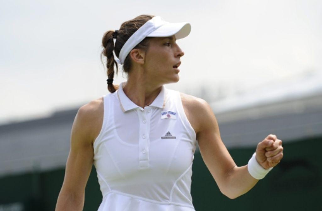 Andrea Petkovic hat ihr erstes Match beim Tennisturnier in Wimbeldon gewonnen. Foto: dpa
