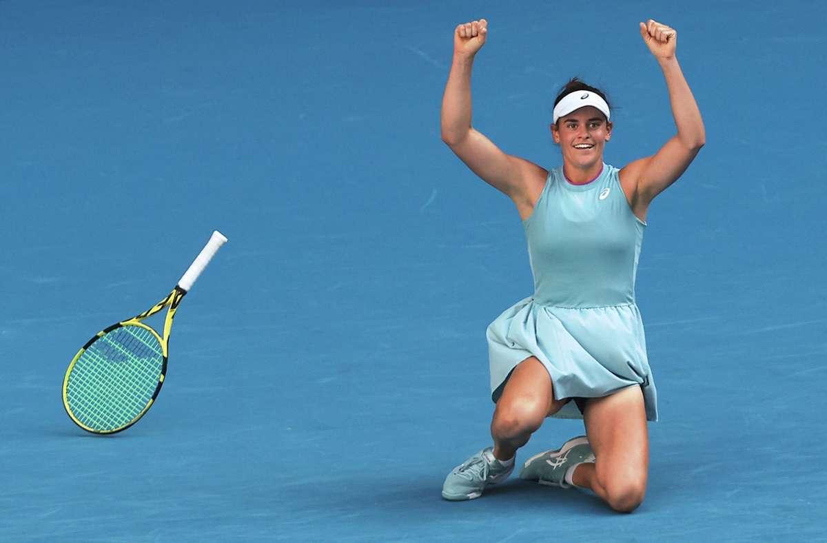 Geschafft: Jennifer Brady steht im Finale bei den Australian Open. Foto: AFP/BRANDON MALONE