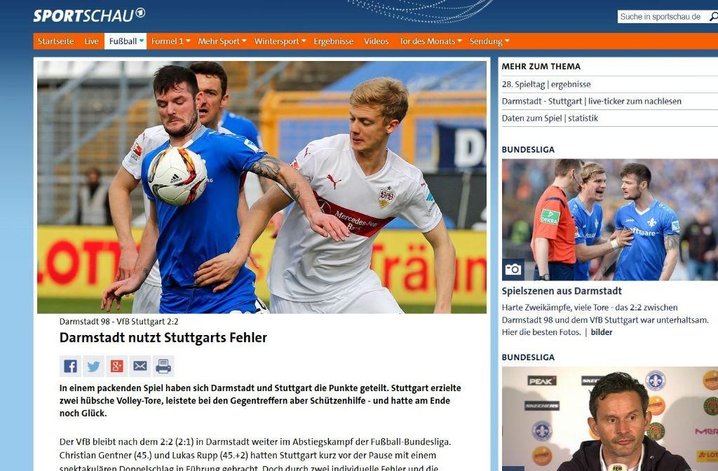 Der VfB bleibt nach dem 2:2 (2:1) in Darmstadt weiter im Abstiegskampf der Fußball-Bundesliga. - schreiben die Kollegen der Sportschau. Foto: Screenshot