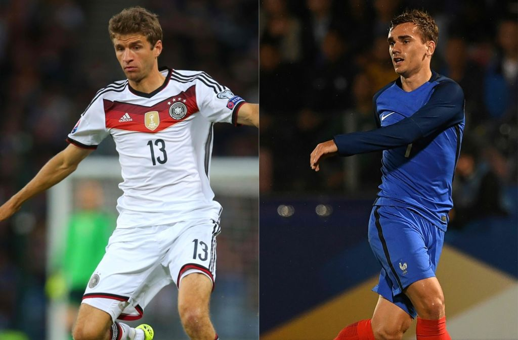 Thomas Müller und Antoine Griezmann – zwei der offensiven Protagonisten beim Halbfinale zwischen Deutschland und Frankreich. Foto: AFP