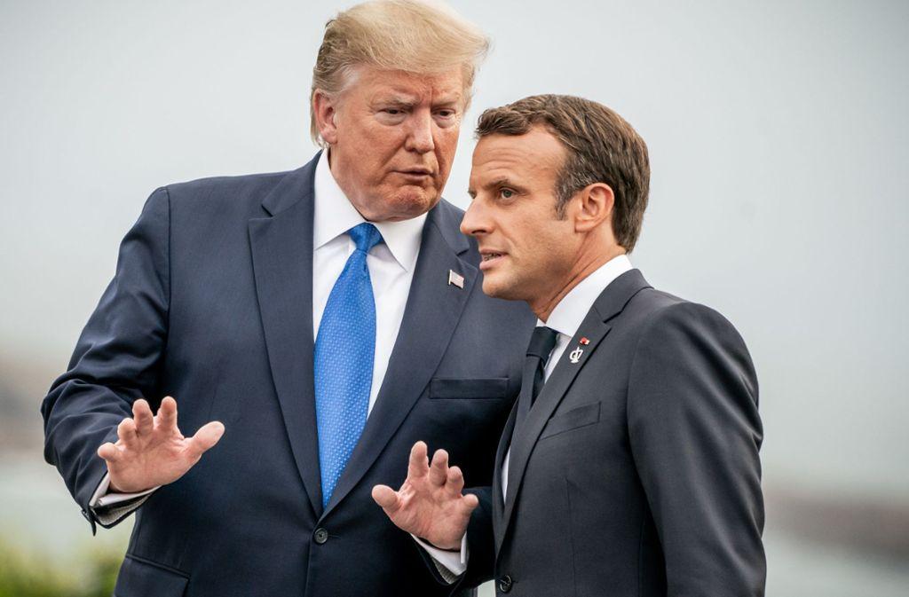 US-Präsident Donald Trump und Frankreichs Präsident Emmanuel Macron beim G7-Gipfel in  Biarritz. Foto: dpa