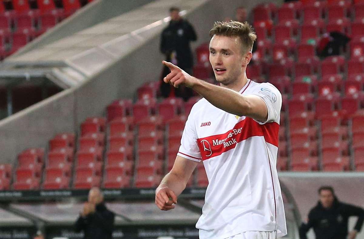 Sasa Kalajdzic ist derzeit beim VfB Stuttgart unter Vertrag – und sorgte in der abgelaufenen Bundesliga-Saison mitunter für Furore. Foto: Pressefoto Baumann