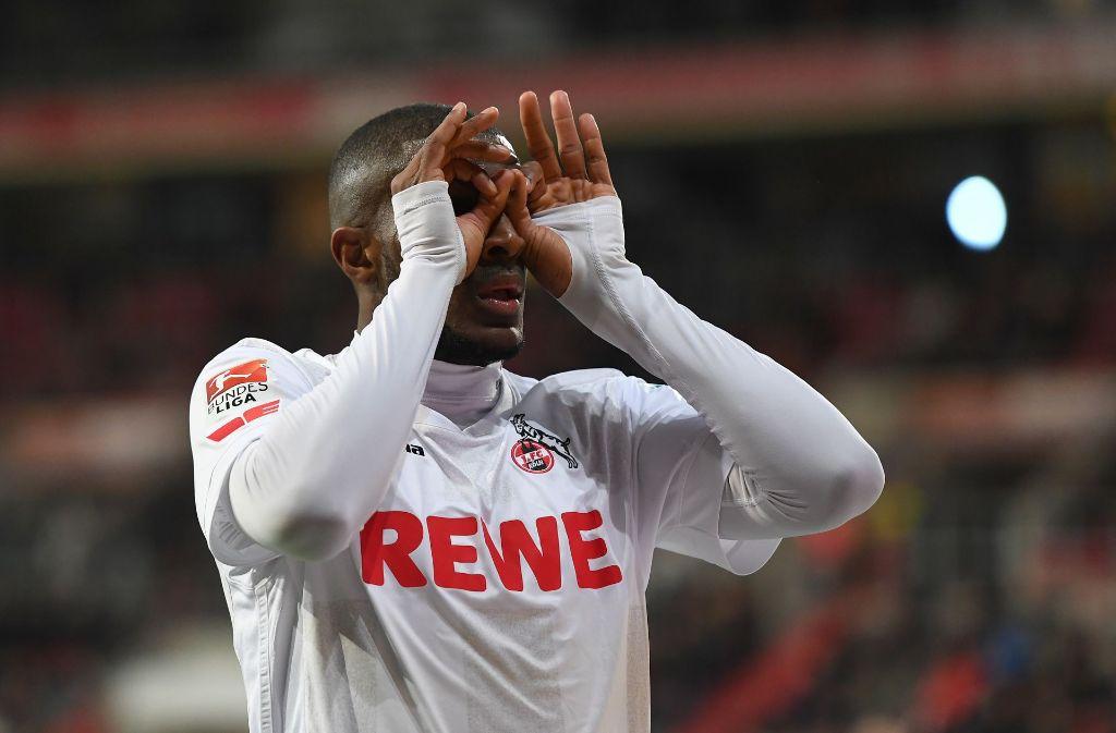 Anthony Modeste mit zwei Toren fürd en 1. FC Köln beim Duell mit dem FC Ingolstadt. Foto: Bongarts