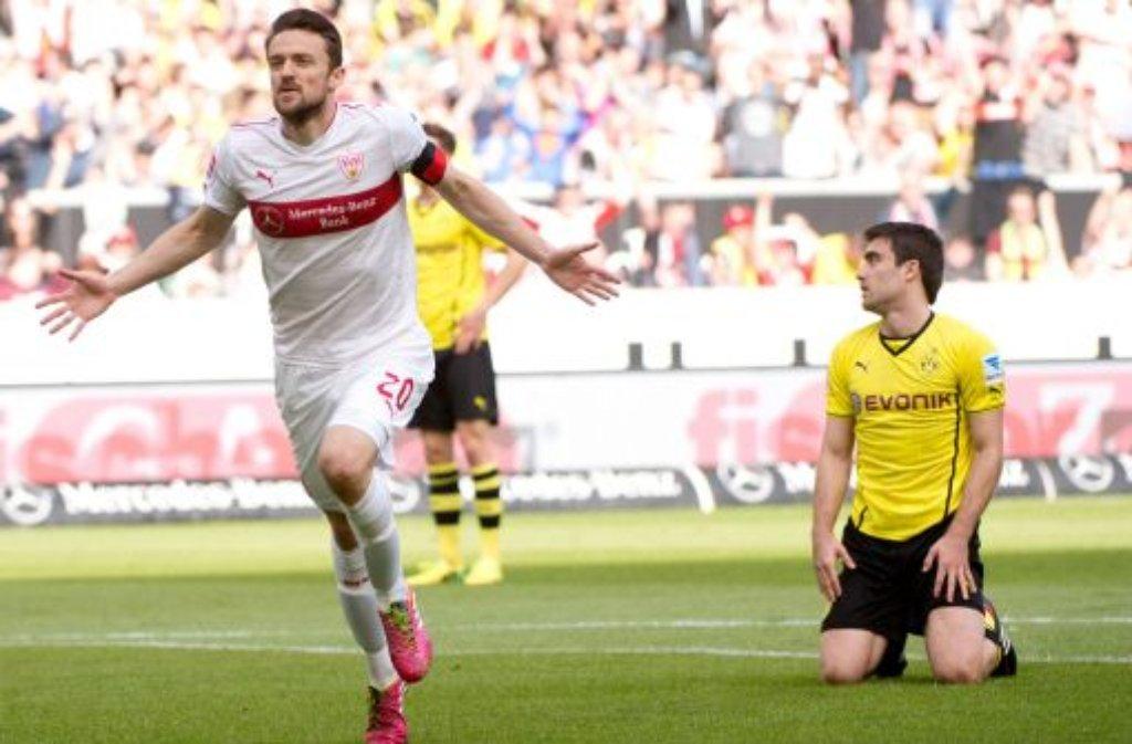Der VfB Stuttgart hat gegen Borussia Dortmund eine 2:0-Führung verspielt. Foto: dpa