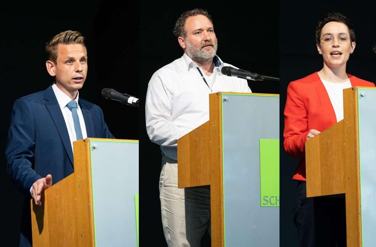 Wer macht das Rennen um den Chefsessel im Schönaicher Rathaus (v.l.): Markus Mezger, Michael Wieser oder Anna Walther? Foto: Stefanie Schlecht/jps