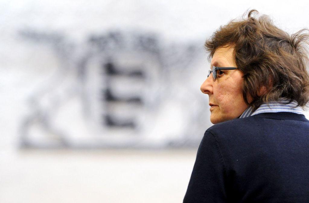 Die ehemalige RAF-Terroristin Verena Becker im Jahr 2012 in einem Gerichtssaal des Oberlandesgerichts in Stuttgart. Foto: dpa