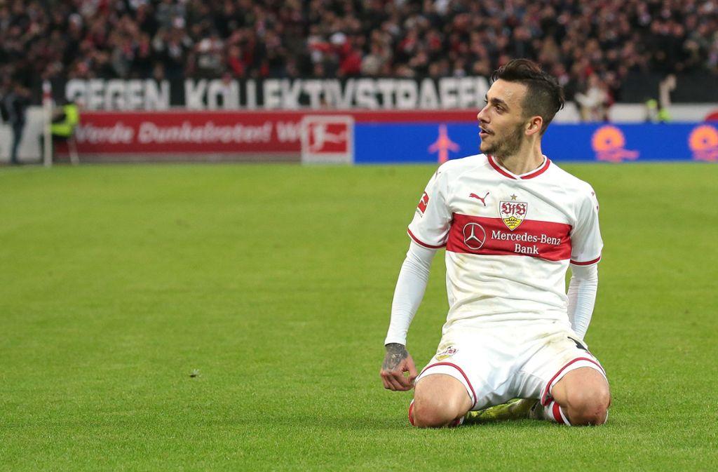 Anastasios Donis war der Matchwinner beim VfB-Spiel gegen Ausgburg. Foto: Pressefoto Baumann